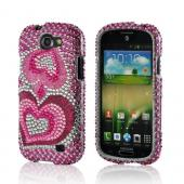 Triple Pink Hearts on Silver Gems Bling Hard Case for Samsung Galaxy Express