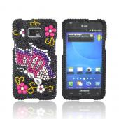 AT&T Samsung Galaxy S2 Bling Hard Case - Pink/ Purple Butterfly on Black Gems