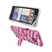 AT&T Samsung Galaxy S2 Bling Hard Case w/ Kickstand - Silver Zebra on Hot Pink Gems