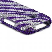 Samsung Galaxy Victory 4G LTE Bling Hard Case - Purple/ Silver Zebra