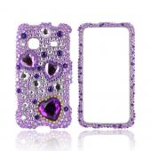 Samsung Prevail M820 Bling Hard Case - Purple Hearts on Light Purple/ Silver Gems