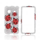 Samsung Prevail M820 Bling Hard Case - Red Ladybugs on Silver Gems