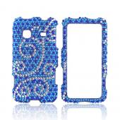 Samsung Galaxy Prevail M820 Bling Hard Case w/ Crowbar - Silver Swirls on Blue