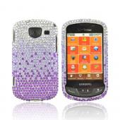 Samsung Brightside U380 Bling Hard Case - Purple/ Lavender Waterfall on Silver Gems