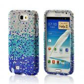 Blue/ Turquoise Waterfall on Silver Gems Bling Hard Case for Samsung Galaxy Note 2