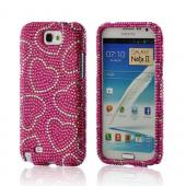 Silver Hearts on Hot Pink Gems Bling Hard Case for Samsung Galaxy Note 2