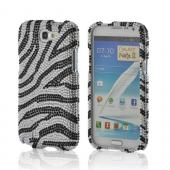 Black/ Silver Zebra Bling Hard Case for Samsung Galaxy Note 2