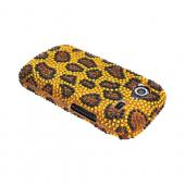 Google Nexus S Bling Hard Case - Brown/ Black Leopard on Gold Gems