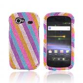Google Nexus S Bling Hard Case - Rainbow Stripes on Pink
