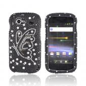 Google Nexus S Bling Hard Case - Silver/ Gold Butterfly on Black Gems