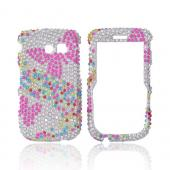 Samsung Freeform 2 R360 Bling Hard Case - Pink Butterflies & Multi Colors on Silver