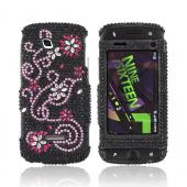 Samsung Sidekick 4G Bling Hard Case - Pink Swirls & Silver Flowers on Black Gems