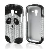Silver/ Black Panda Bear Bling Hard Case for Samsung Galaxy Exhibit