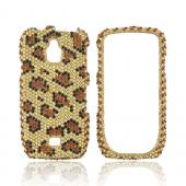 Samsung Exhibit T759 Bling Hard Case - Brown/ Black Leopard on Gold Gems