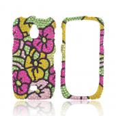 Samsung Exhibit T759 Bling Hard Case - Green/ Pink/ Yellow Hawaii Flowers