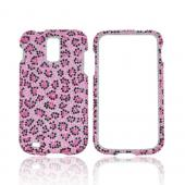 T-Mobile Samsung Galaxy S2 Bling Hard Case - Baby Pink/ Hot Pink/ Black Small Leopard Print on Pink Gems