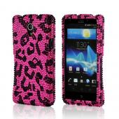 Hot Pink/ Black Leopard Bling Hard Case for Sony Xperia TL