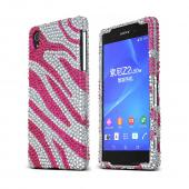 Pink Zebra on Silver Gems Sony Xperia Z2 Hard Case Cover; Jeweled Fashion Cute Plastic Case; Perfect fit as Best Coolest Design cases