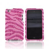 Apple iPod Touch 4 Bling Hard Case w/ Crowbar - Hot Pink Zebra on Baby Pink Gems