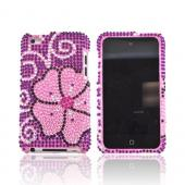 Apple iPod Touch 4 Bling Hard Case w/ Crowbar - Pink Flower on Purple Gems