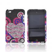 Apple iPod Touch 4 Bling Hard Case w/ Crowbar - Baby Pink/ Silver Heart w/ Swirls on Black Gems