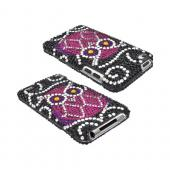 Apple iPod Touch 4 Bling Hard Case w/ Crowbar - Hot Pink Owl on Black Gems