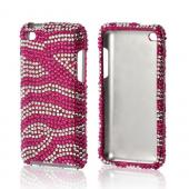 Hot Pink/ Silver Zebra Bling Hard Case for Apple iPod Touch 4