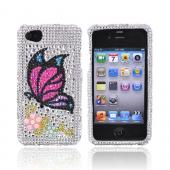 Apple Verizon/ AT&T iPhone 4, iPhone 4S Bling Hard Case - Butterfly on Silver