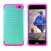 Mint Amazon Fire Dual Layer Hard Cover w/ Bling on Hot Pink Silicone Skin Case - Fancy Protection!