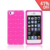 Apple iPhone 5/5S Silicone Case w/ Bling - Hot Pink w/ Silver Gems