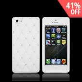 Apple iPhone 5/5S Silicone Case w/ Bling - White w/ Silver Gems