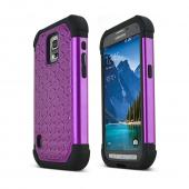Purple Samsung Galaxy S5 Active Hard Cover w/ Bling Over Black Silicone Skin Case