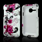 Magenta Flowers w/ Black Vines on White Hard Case for Alcatel One Touch Evolve