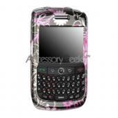 Blackberry Curve 8900 Protective Hard Case - Floral on Black