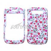 Blackberry Curve 8900 Hard Case - Pink Dots, Green Leaves on White