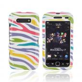 Blackberry Torch 9850, 9860 Hard Case - Rainbow Zebra on White