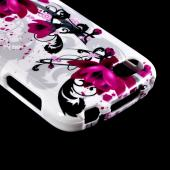 Magenta Flowers & Black Vines on White Hard Case for Blackberry Q10
