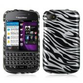 Silver/ Black Zebra Hard Case for Blackberry Q10