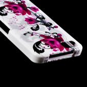 Magenta Flowers on White Hard Case for Blackberry Z10