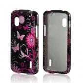 Pink Flowers & Butterflies on Black Hard Case for Google Nexus 4