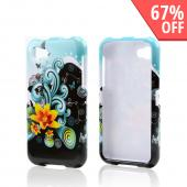 Yellow Lily w/ Swirls on Turquoise/ Black Hard Case for HTC First