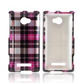 HTC 8X Hard Case - Plaid Pattern of Pink/ Brown/ Gray