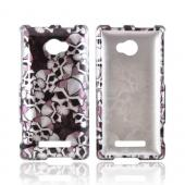 HTC 8X Hard Case - Silver Skulls on Black