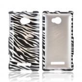 HTC 8X Hard Case - Silver/ Black Zebra