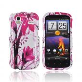 HTC Amaze 4G Hard Case - Pink Flower Splash on White
