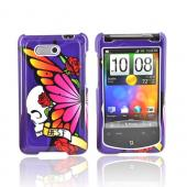 HTC Aria Hard Case (Best) - Skull and Butterfly on Purple