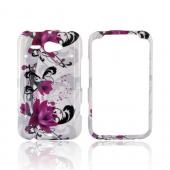 HTC Status Hard Case - Pink Flowers on White