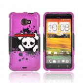 HTC EVO 4G LTE Hard Case - White Skull w/ Bow on Hot Pink