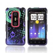 HTC EVO 3D Hard Case - Black Hearts on Green/ Purple