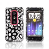 HTC EVO 3D Hard Case - Black Flower Lace on Silver